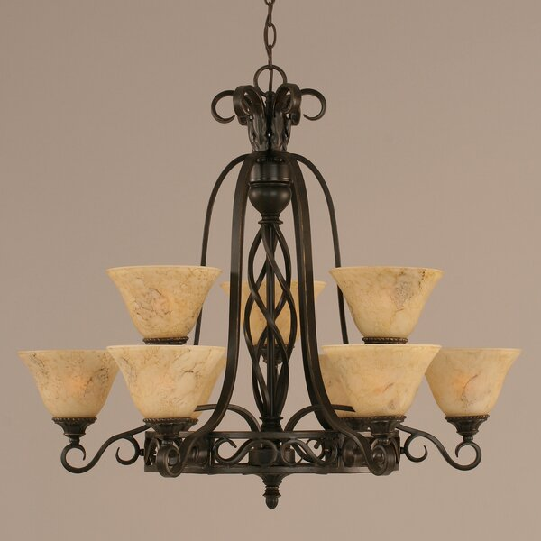 Pierro 9-Light Shaded Wagon Wheel Chandelier By Astoria Grand