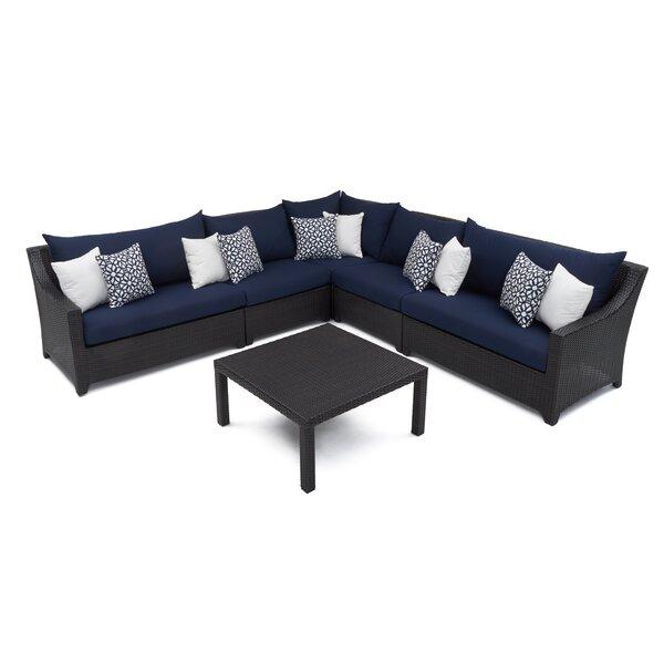 Northridge 6 Piece Rattan Sunbrella Sectional Seating Group by Three Posts