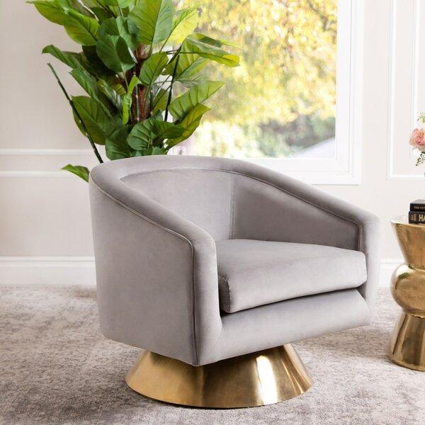 Dayne Swivel Barrel Chair by Everly Quinn