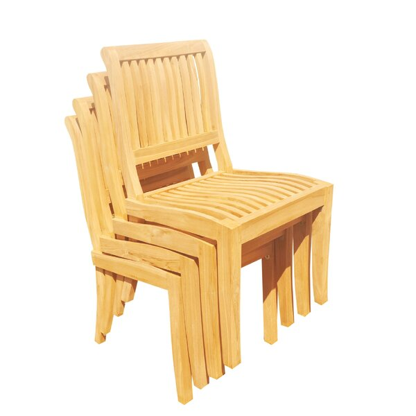 Masten Stacking Teak Patio Dining Chair (Set of 4) by Rosecliff Heights
