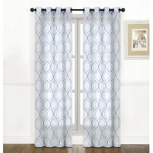 Belmonte Embroidered Geometric Sheer Grommet Curtain Panels (Set of 2)