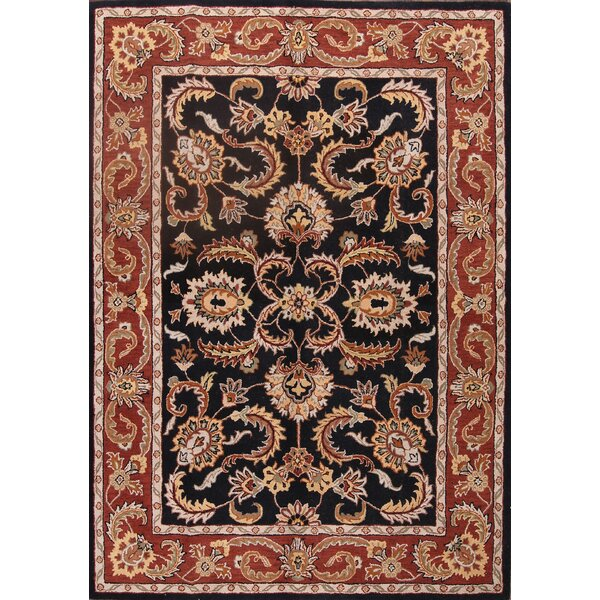 Bovill Agra Oriental Hand-Tufted Wool Black/Red Area Rug by Canora Grey