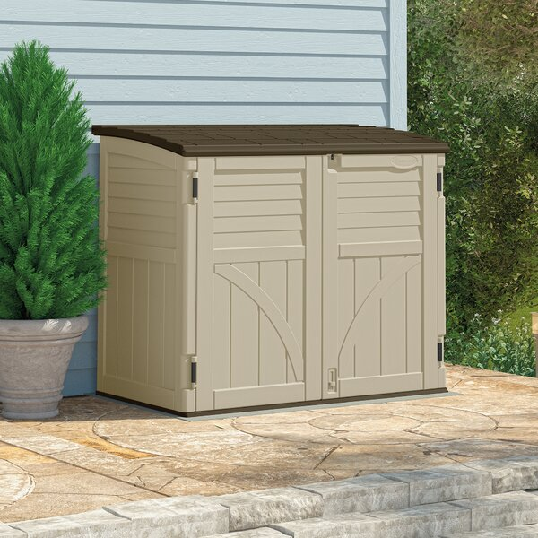 Utility 4 ft. 5 in. W x 2 ft. 8 in. D Plastic Horizontal Garbage Shed by Suncast