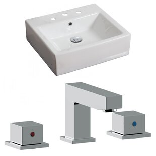 Compare prices Ceramic Rectangular Vessel Bathroom Sink with Faucet and Overflow By American Imaginations