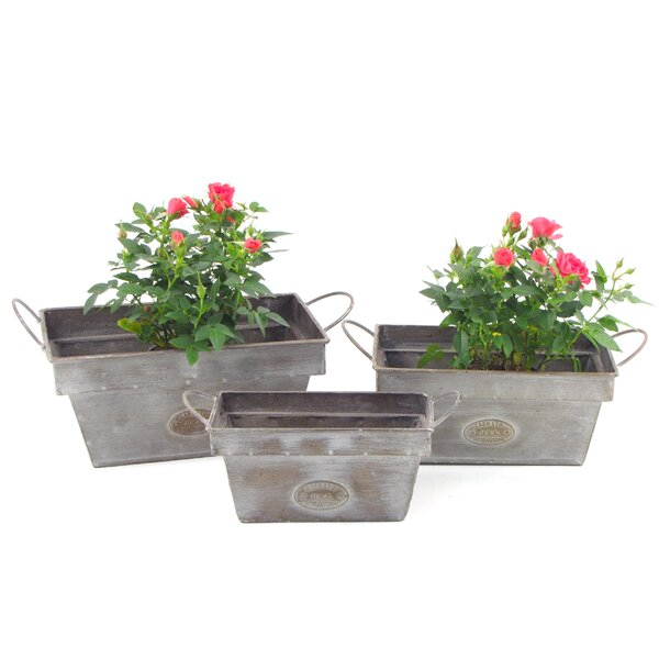 Rectangular 3-Piece Iron Pot Planter Set by Zaer Ltd International