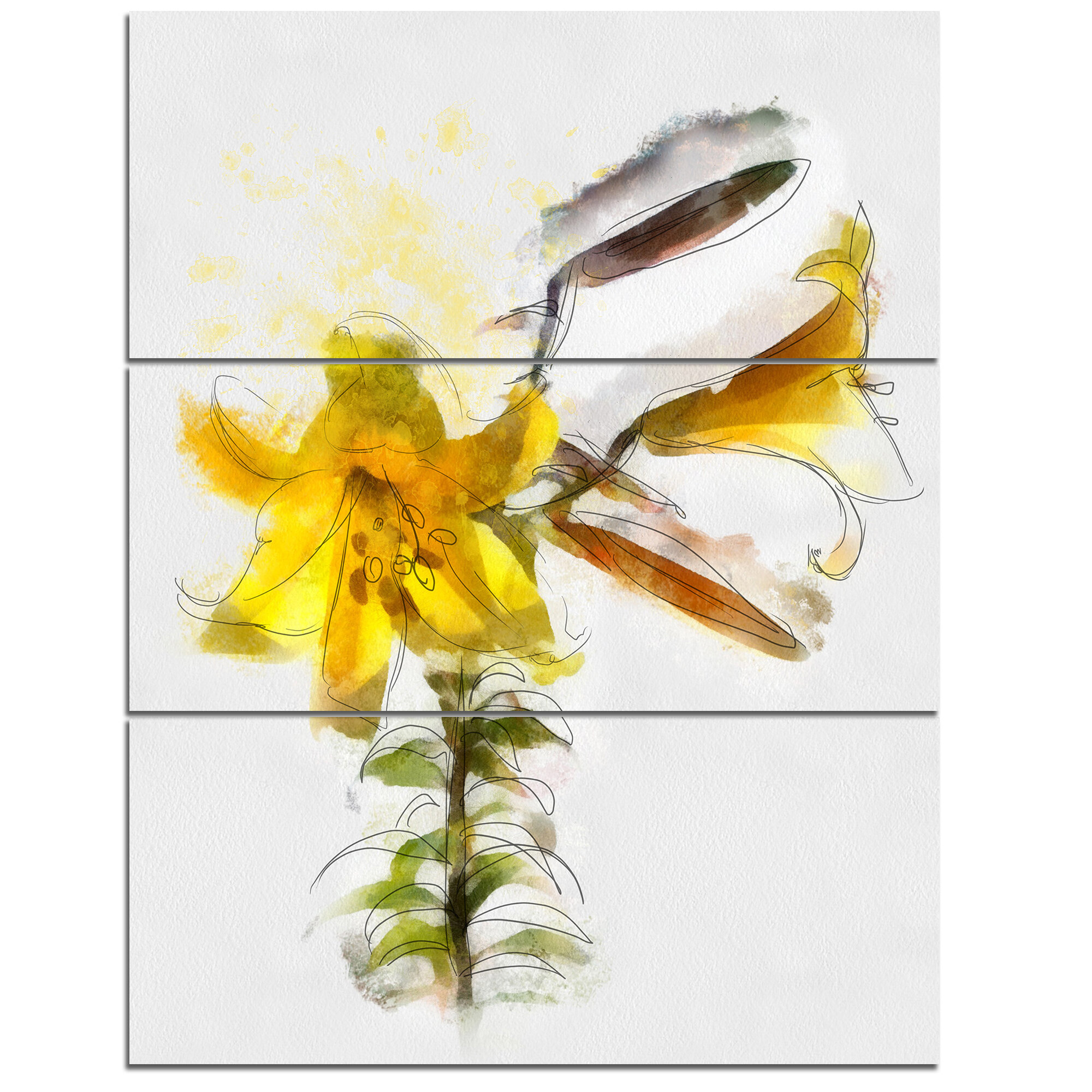 DesignArt \'Yellow Tulip Stem with Leaves\' 3 Piece Wall Art on ...
