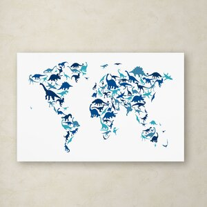 Dinosaur World Map by Michael Tompsett Graphic Art on Wrapped Canvas by Trademark Fine Art