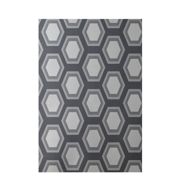 Geometric Dark Gray Indoor/Outdoor Area Rug by e by design