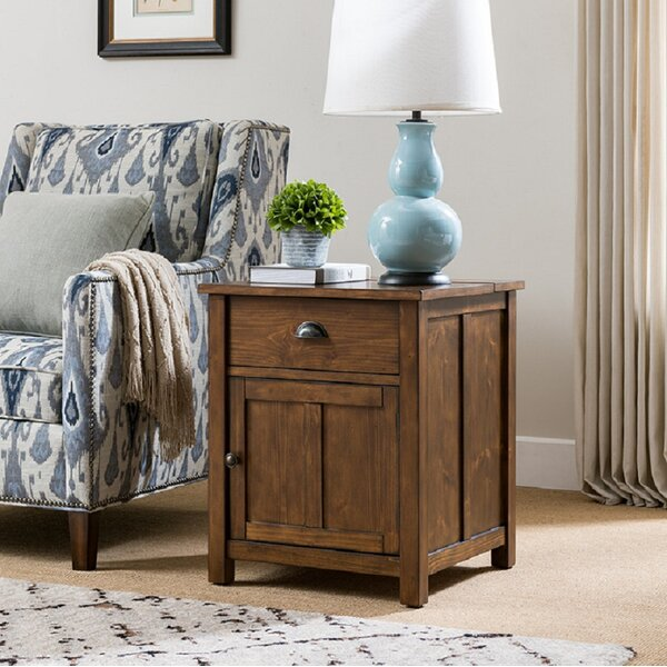 Kyree Craftsman Side Table with Storage and Charging Station by Millwood Pines