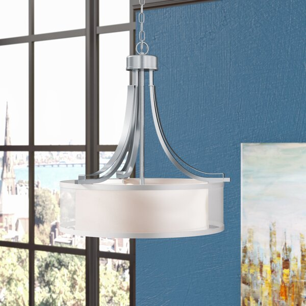 Demby 3 - Light Shaded Drum Chandelier By Ebern Designs