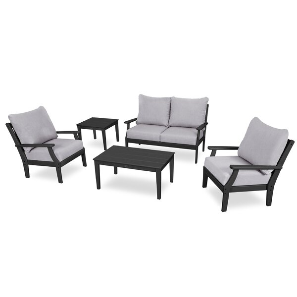 Braxton Deep 5 Piece Sunbrella Sofa Seating Group with Cushions by POLYWOOD®