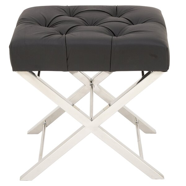 Tufted Leather Vanity Stool by Urban Designs