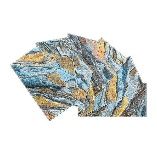 Crystal Skin 3 x 6 Glass Subway Tile in Blue/Beige by SkinnyTile