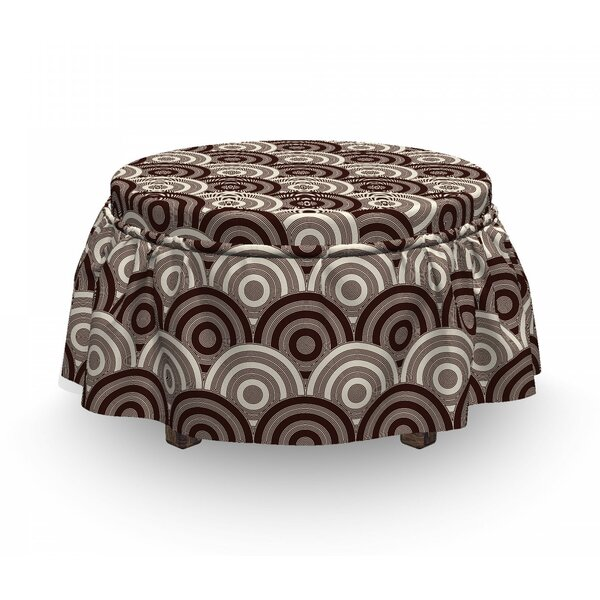 Spiral Circles Grid Ottoman Slipcover (Set Of 2) By East Urban Home