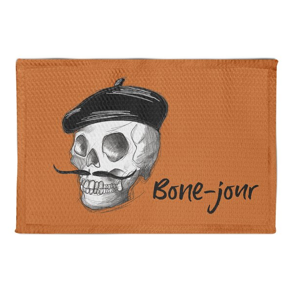 Adriana Bone-Jour Skull Sketch Orange Area Rug by The Holiday Aisle