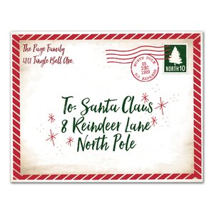 'Dear Santa Envelope' Textual Art on Canvas in Red/Green by Designs Direct Creative Group
