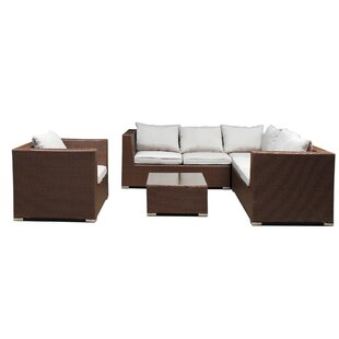 Bluebell 5 Piece Rattan Sectional Seating Group with Cushions By Highland Dunes