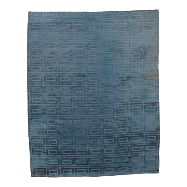 Modern Hand-Knotted Silk Blue Area Rug by Pasargad NY