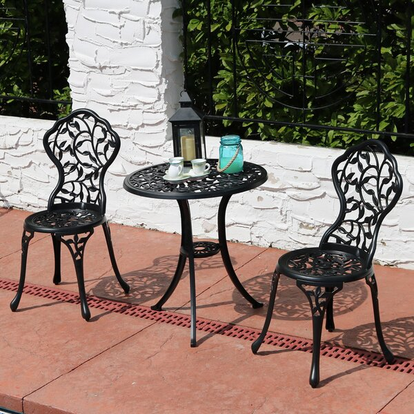 Moravia Outdoor Garden Patio Cast Aluminum 3-Piece Bistro Set by Ophelia & Co.