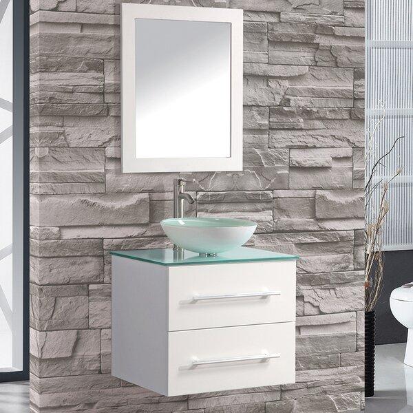 Prado 24 Single Sink Wall Mounted Bathroom Vanity Set with Mirror by Orren Ellis