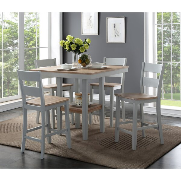 Liesel Counter 5 Piece Breakfast Nook Solid Wood Dining Set by August Grove