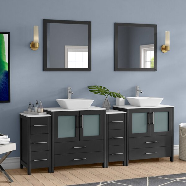 Karson Modern 84 Double Bathroom Vanity Set with Mirror by Wade Logan