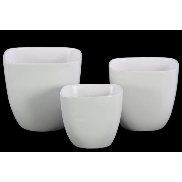 Square 3-Piece Ceramic Pot Planter Set by Urban Trends