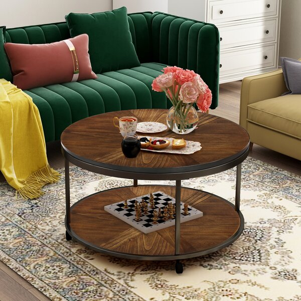Mancuso Caster Wheels And Unique Textured Surface Coffee Table By 17 Stories