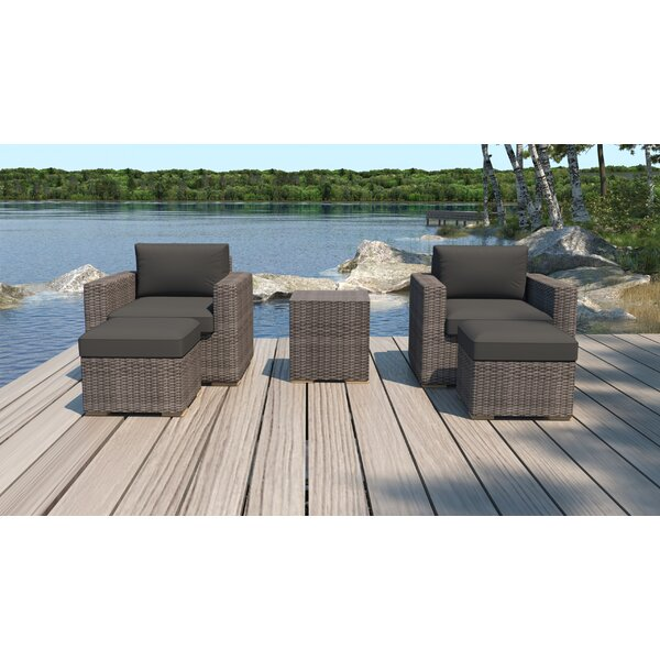 Holcomb 5 Piece Rattan Seating Group with Sunbrella Cushions by Rosecliff Heights