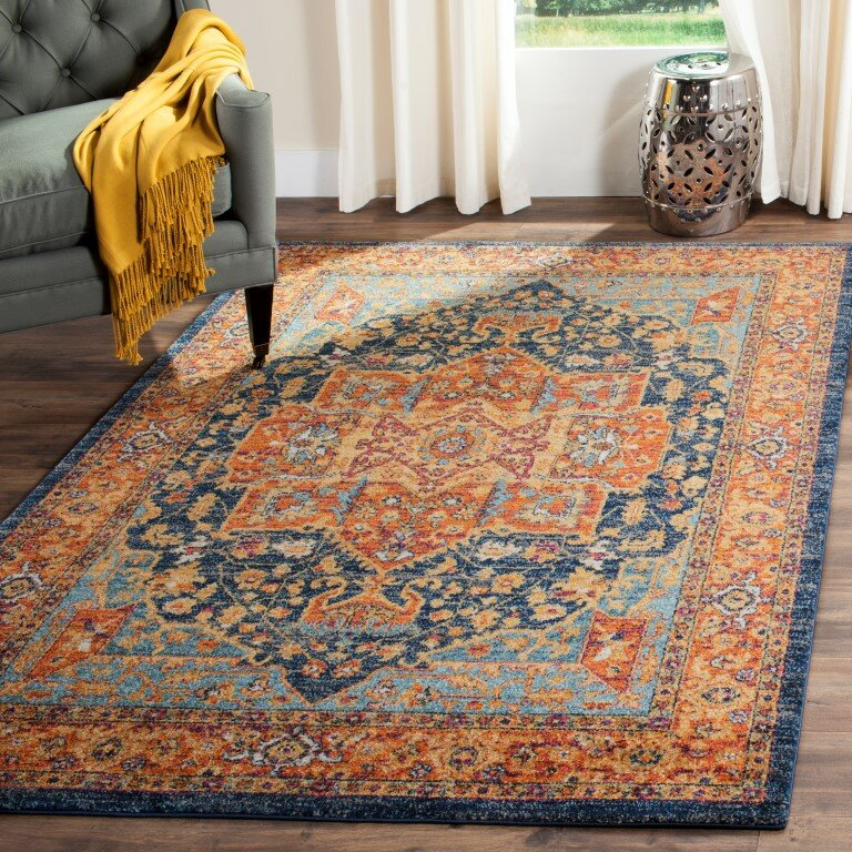 Benton Blue Orange Area Rug