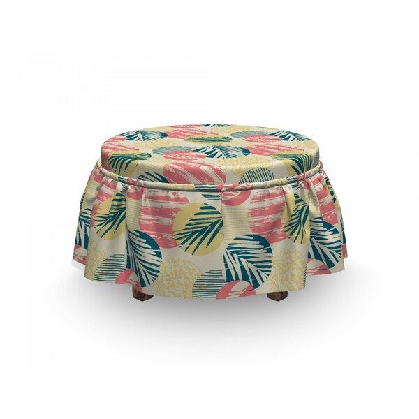 Palm Tree Grunge Brazil Leaves 2 Piece Box Cushion Ottoman Slipcover Set By East Urban Home