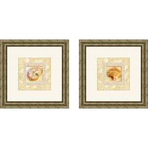 Bath Antique Shell 2 Piece Framed Graphic Art Set by PTM Images