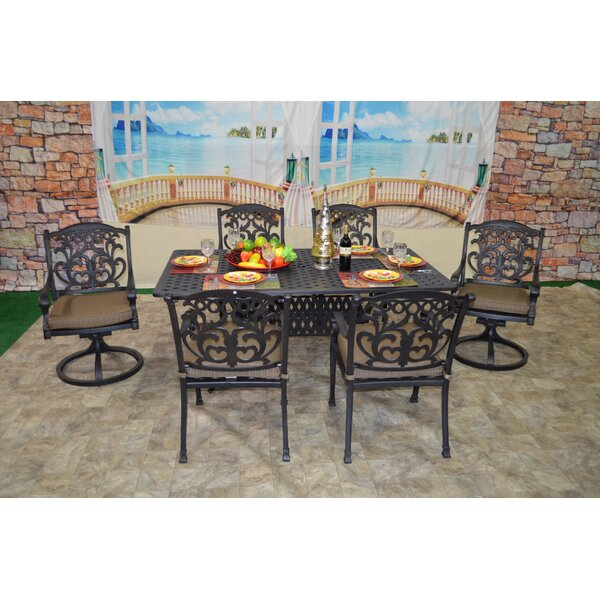Nola 7 Piece Dining Set with Cushions by Darby Home Co