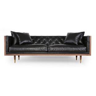 Lancaster Standard Classic Midcentury Leather Sofa