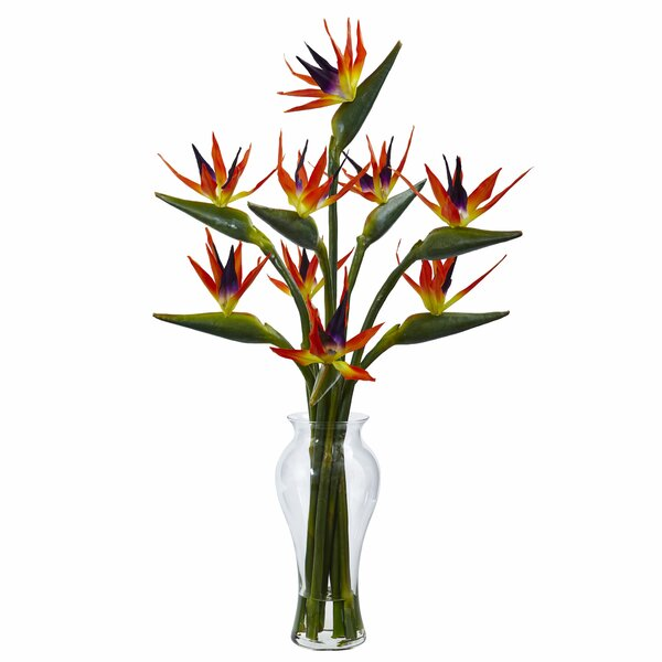 Birds of Paradise Floral Arrangements in Decorative Vase by Nearly Natural