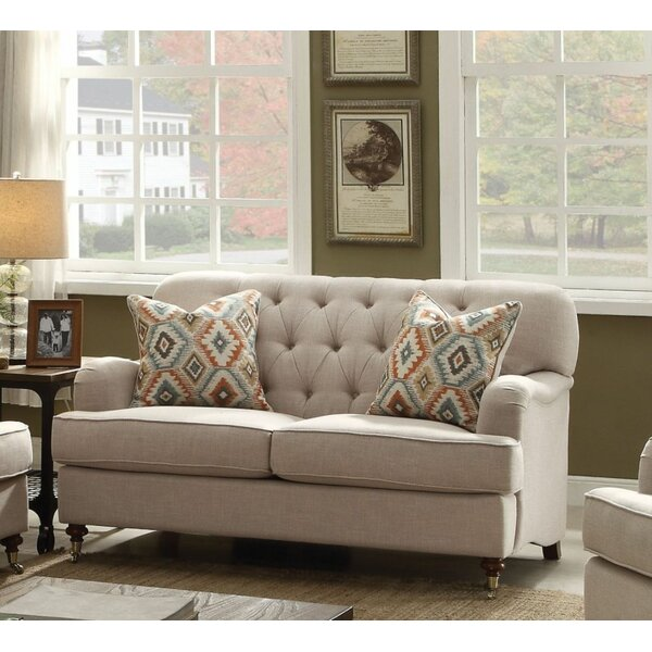 Loveseat With 2 Pillows, Beige Fabric By Charlton Home