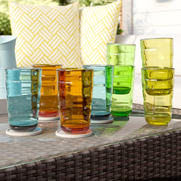Fulmer Break-Resistant Wavy 8 Piece 25 oz. Plastic/Acrylic Every Day Glass Set by Ivy Bronx