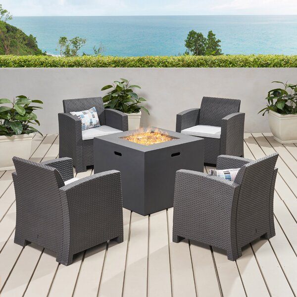 5 Peice Seating Group with Cushions by Winston Porter