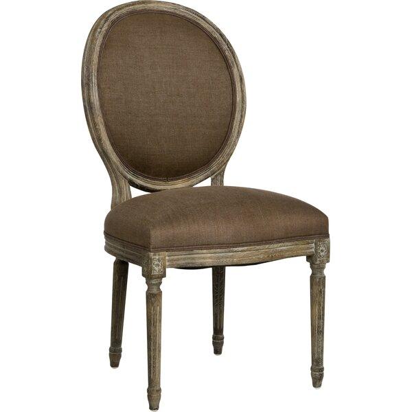 Medallion Side Chair in Linen - Aubergine by Zentique