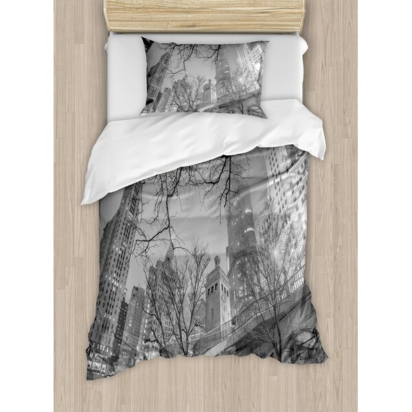 Decorations Chicago Downtown Night Highrise Buildings Tree Branches Duvet Set by East Urban Home
