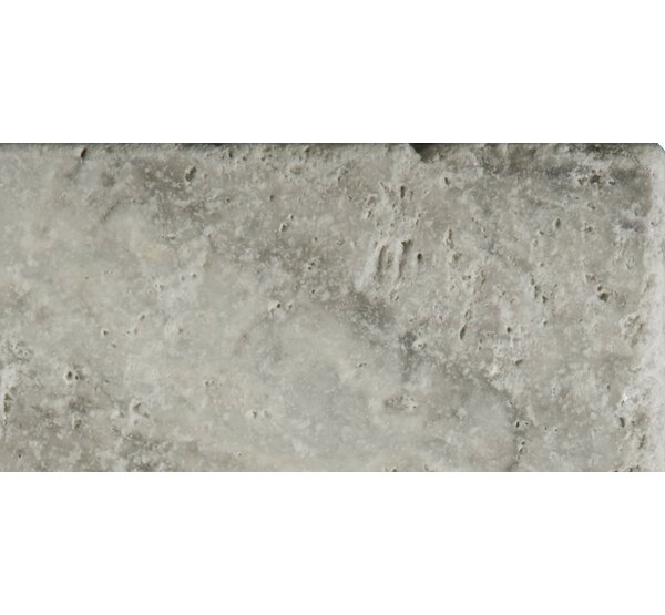 Travertine 3 x 6 Subway Tile in Ancient Tumbled Silver by Emser Tile