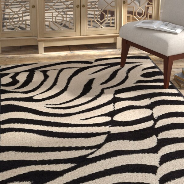 Emeline Zebra Black/Tan Area Rug by Bloomsbury Market