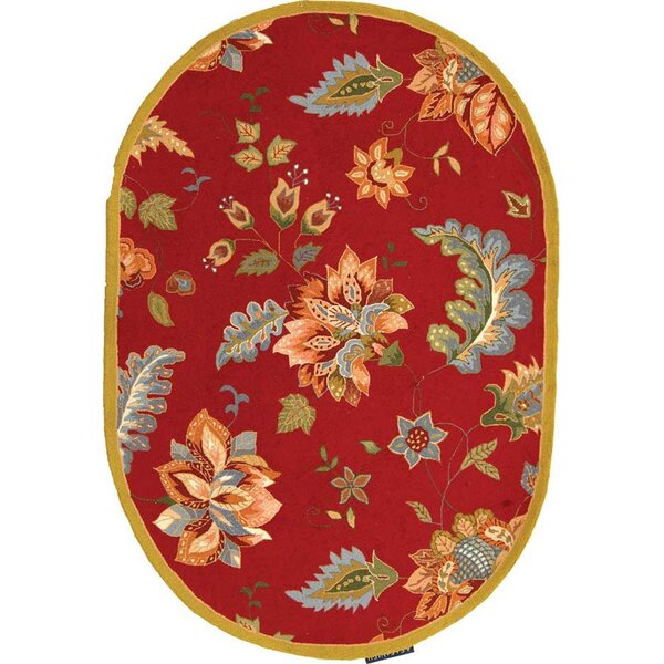 Helena Hand-Hooked Wool Red/Brunt Orange/Blue Area Rug by Charlton Home