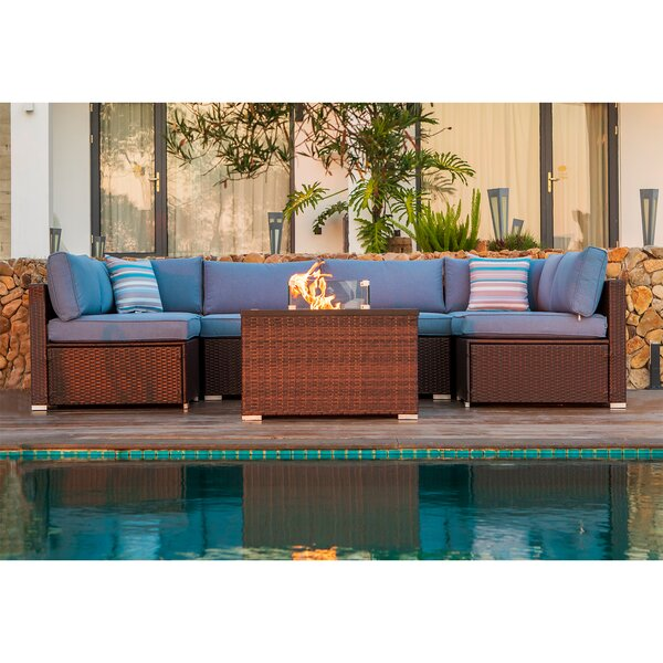 Amara 7 Piece Sectional Seating Group with Cushions by Bayou Breeze