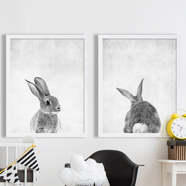 Animal Prints Baby Bunny Front and Back 2 Piece Paper Print Set by Coco and James
