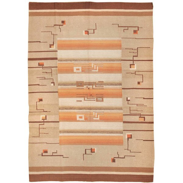 One-of-a-Kind Swedish Hand-Knotted 1900s Orange 7' x 10' Wool Area Rug