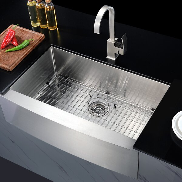 Elysian 32.88 L x 20.75 W Single Bawl Farmhouse Kitchen Sink with Drain Assembly by ANZZI
