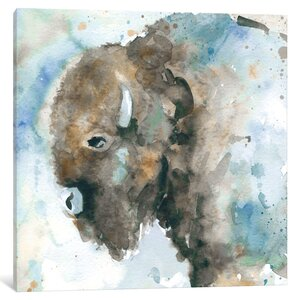 Buffalo on Blue Painting Print on Wrapped Canvas by Loon Peak