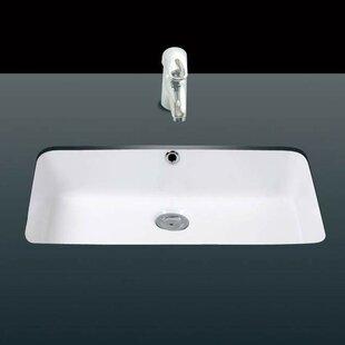 Under Ceramic Ceramic Rectangular Undermount Bathroom Sink With Overflow