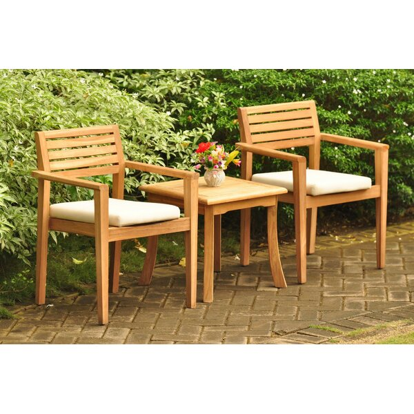 Molimo 3 Piece Teak Bistro Set by Rosecliff Heights